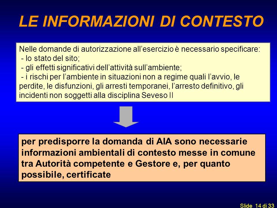 Slide 14 di 33 Nelle domande di autorizzazione allesercizio è necessario specificare: - lo stato del sito; - gli effetti significativi dellattività su