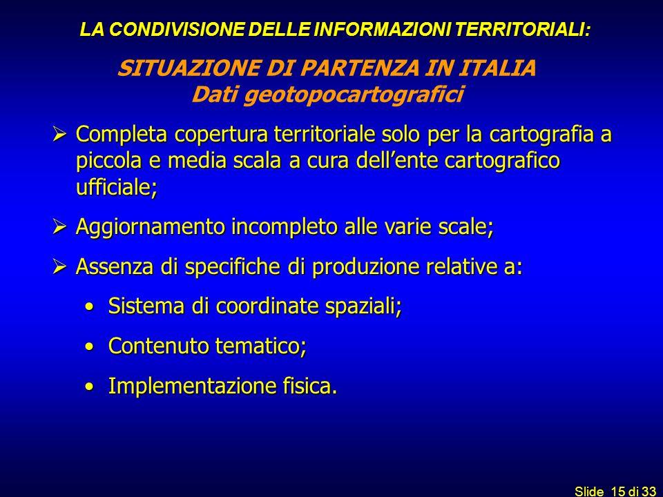 Slide 15 di 33 SITUAZIONE DI PARTENZA IN ITALIA Dati geotopocartografici Completa copertura territoriale solo per la cartografia a piccola e media sca