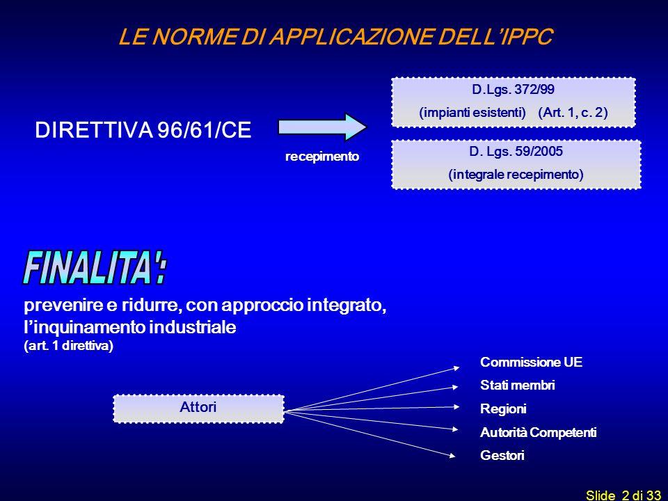 Slide 2 di 33 D.Lgs. 372/99 (impianti esistenti) (Art. 1, c. 2) recepimento prevenire e ridurre, con approccio integrato, linquinamento industriale (a