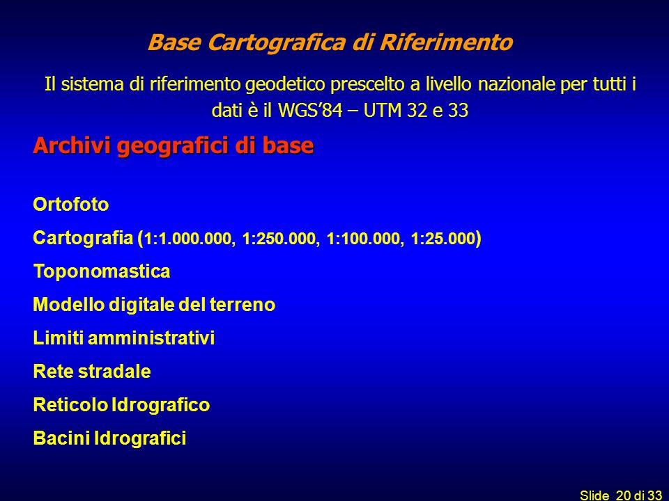 Slide 20 di 33 Archivi geografici di base Ortofoto Cartografia ( 1:1.000.000, 1:250.000, 1:100.000, 1:25.000 ) Toponomastica Modello digitale del terr
