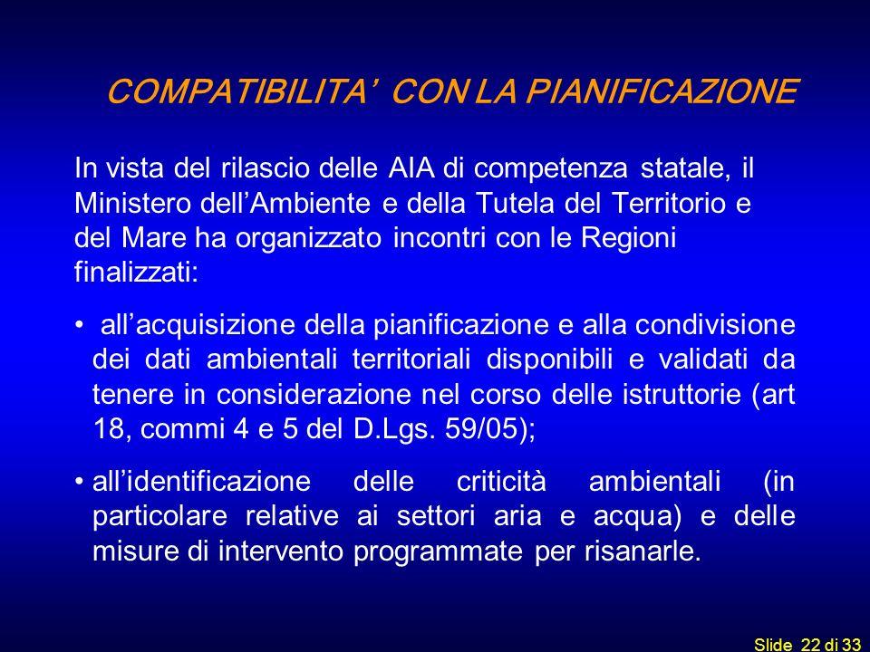 Slide 22 di 33 COMPATIBILITA CON LA PIANIFICAZIONE In vista del rilascio delle AIA di competenza statale, il Ministero dellAmbiente e della Tutela del