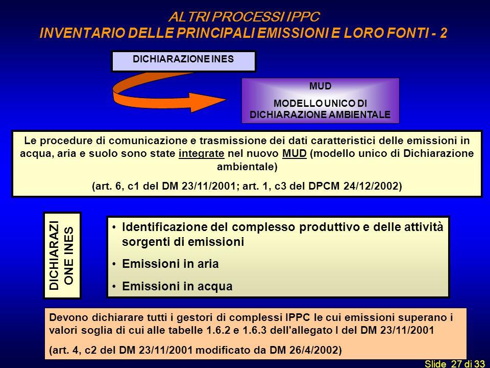 Slide 27 di 33 Le procedure di comunicazione e trasmissione dei dati caratteristici delle emissioni in acqua, aria e suolo sono state integrate nel nu