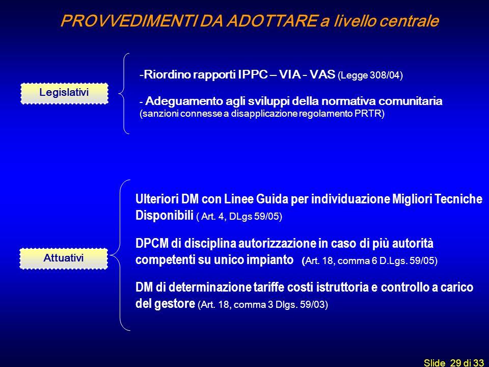 Slide 29 di 33 Legislativi -Riordino rapporti IPPC – VIA - VAS (Legge 308/04) - Adeguamento agli sviluppi della normativa comunitaria (sanzioni connes