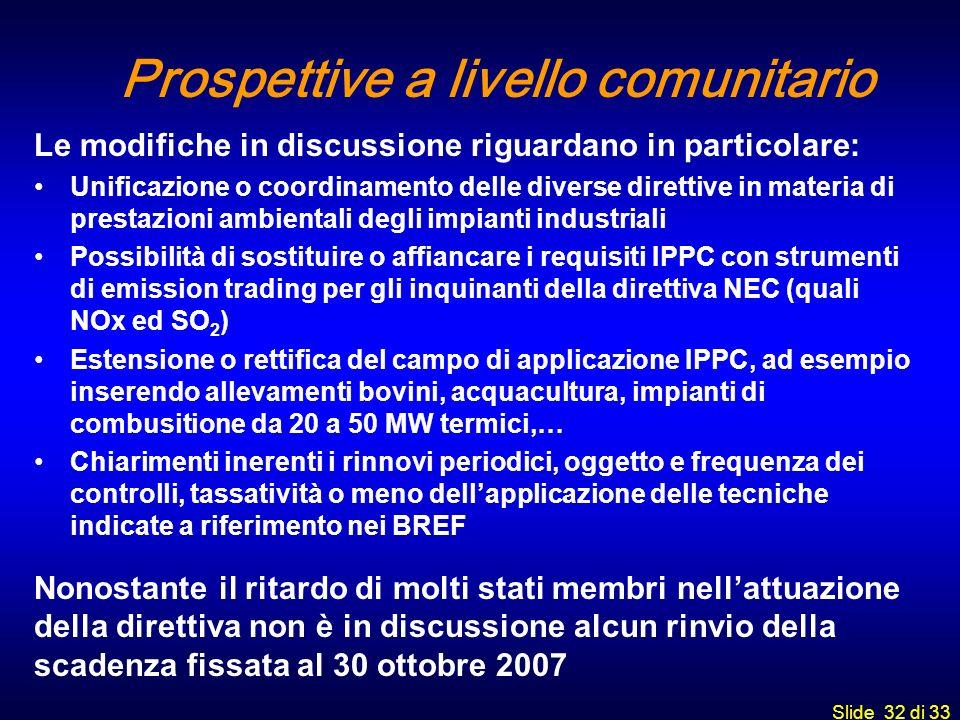 Slide 32 di 33 Prospettive a livello comunitario Le modifiche in discussione riguardano in particolare: Unificazione o coordinamento delle diverse dir