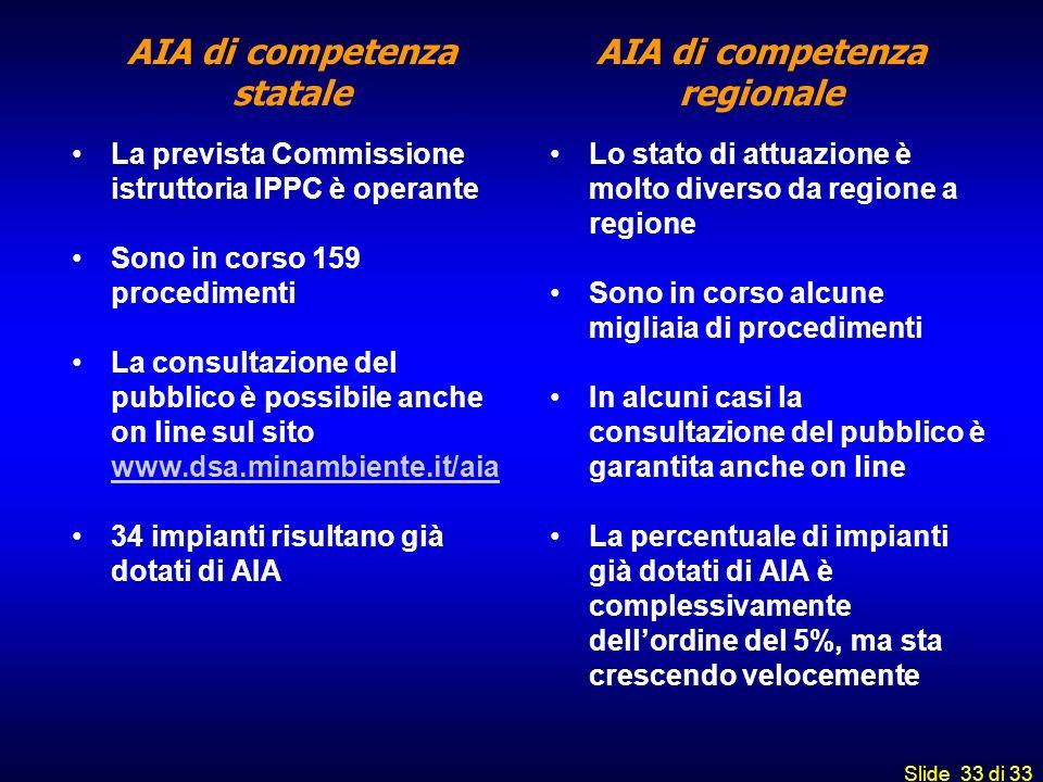 Slide 33 di 33 AIA di competenza statale La prevista Commissione istruttoria IPPC è operante Sono in corso 159 procedimenti La consultazione del pubbl