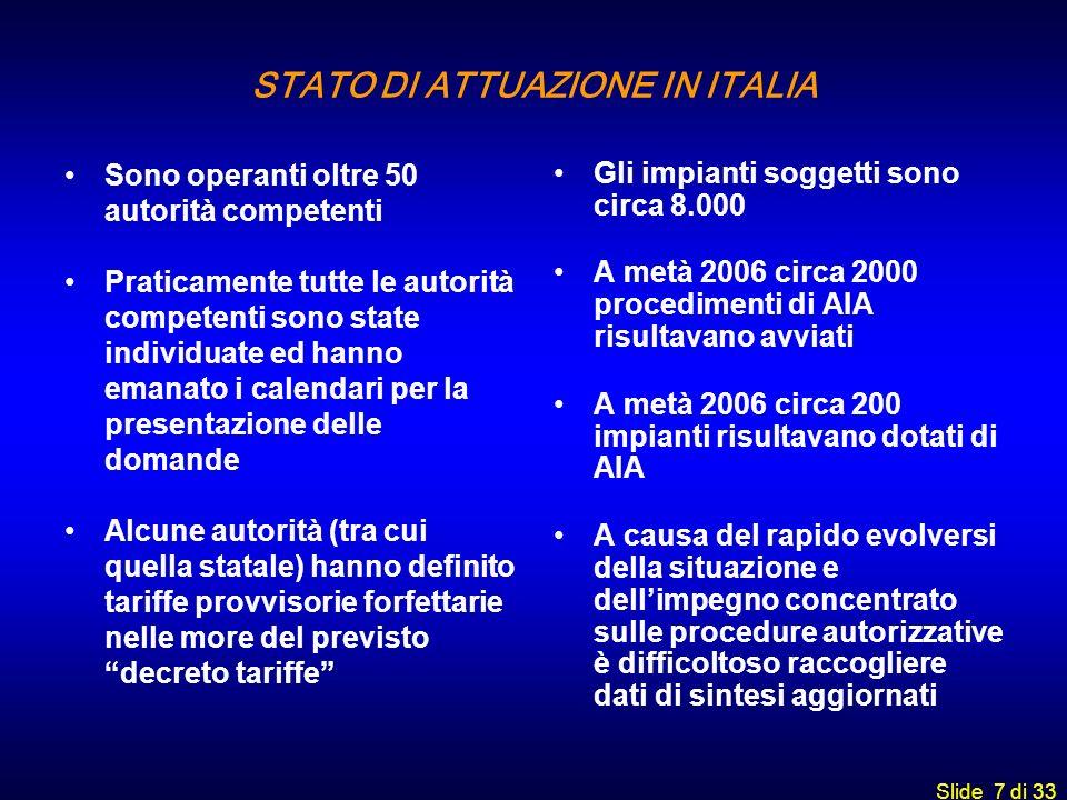 Slide 7 di 33 STATO DI ATTUAZIONE IN ITALIA Sono operanti oltre 50 autorità competenti Praticamente tutte le autorità competenti sono state individuat