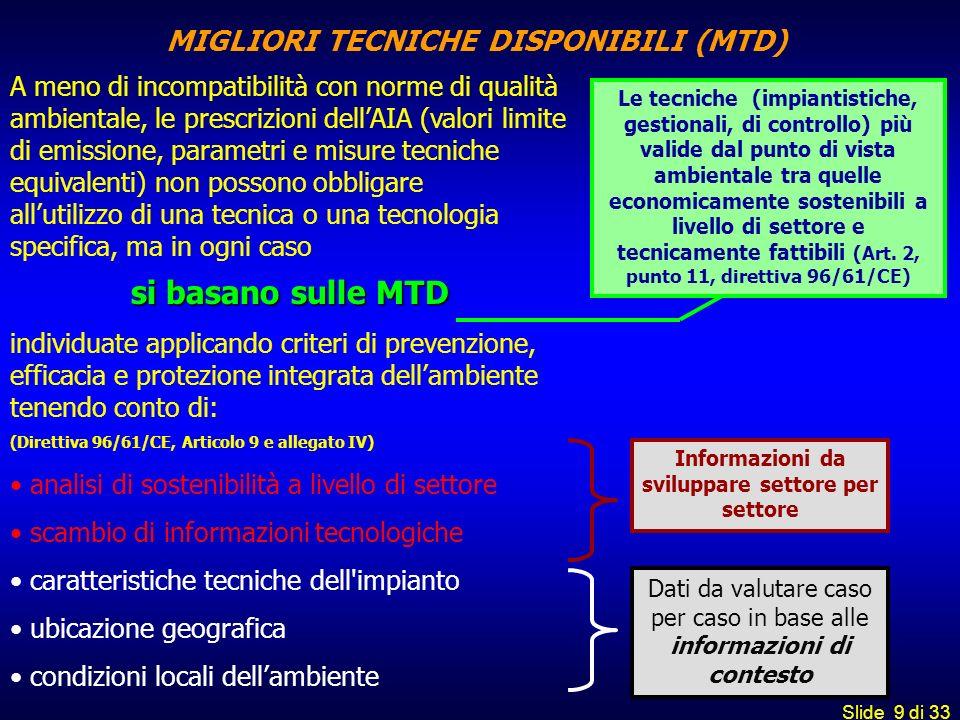Slide 9 di 33 MIGLIORI TECNICHE DISPONIBILI (MTD) A meno di incompatibilità con norme di qualità ambientale, le prescrizioni dellAIA (valori limite di