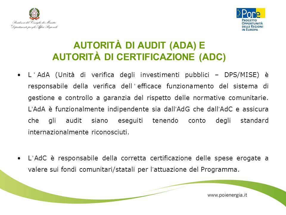 AUTORITÀ DI AUDIT (ADA) E AUTORITÀ DI CERTIFICAZIONE (ADC) LAdA (Unità di verifica degli investimenti pubblici – DPS/MISE) è responsabile della verifi