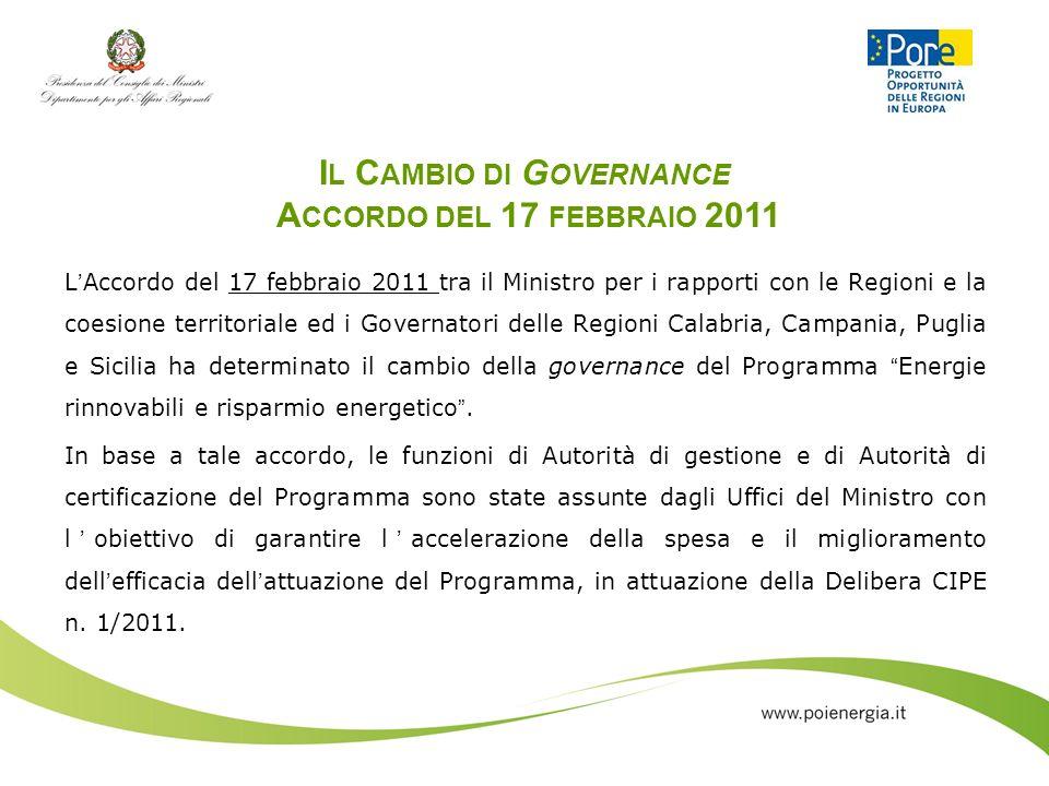 I L C AMBIO DI G OVERNANCE A CCORDO DEL 17 FEBBRAIO 2011 LAccordo del 17 febbraio 2011 tra il Ministro per i rapporti con le Regioni e la coesione ter