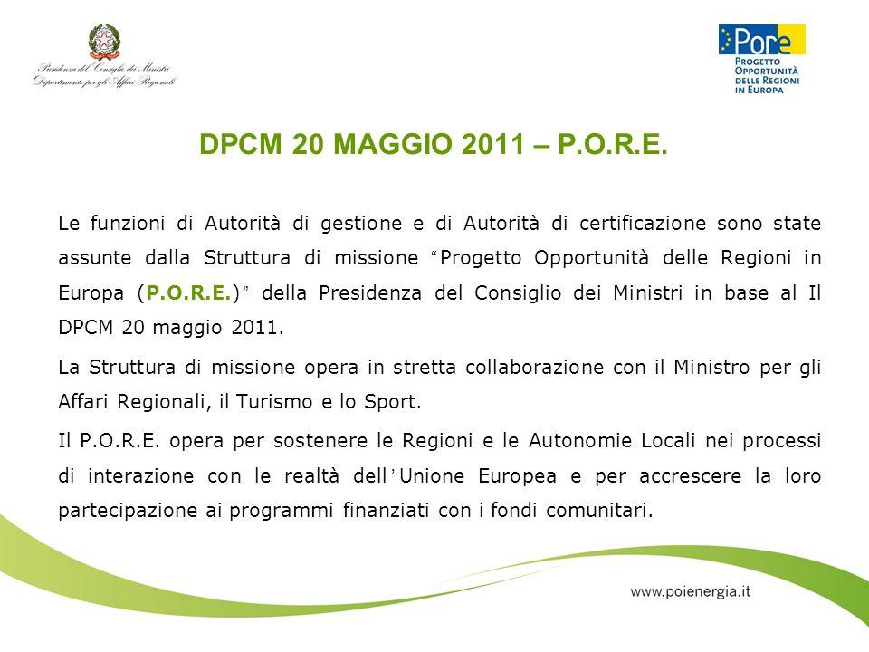 DPCM 20 MAGGIO 2011 – P.O.R.E. Le funzioni di Autorità di gestione e di Autorità di certificazione sono state assunte dalla Struttura di missione Prog