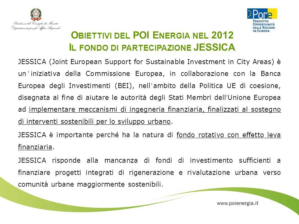 O BIETTIVI DEL POI E NERGIA NEL 2012 I L FONDO DI PARTECIPAZIONE JESSICA JESSICA (Joint European Support for Sustainable Investment in City Areas) è u