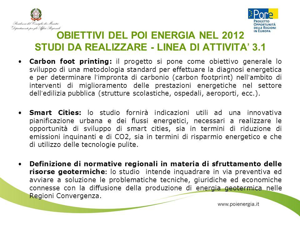 OBIETTIVI DEL POI ENERGIA NEL 2012 STUDI DA REALIZZARE - LINEA DI ATTIVITA 3.1 Carbon foot printing: il progetto si pone come obiettivo generale lo sv