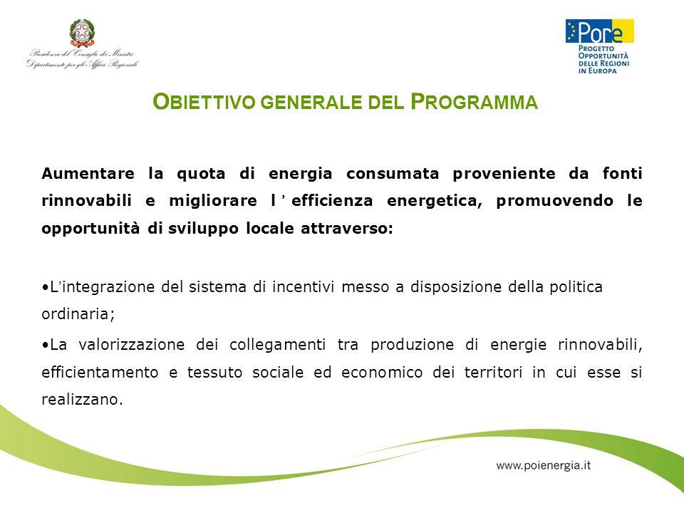 O BIETTIVO GENERALE DEL P ROGRAMMA Aumentare la quota di energia consumata proveniente da fonti rinnovabili e migliorare lefficienza energetica, promu