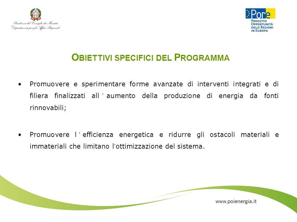 O BIETTIVI SPECIFICI DEL P ROGRAMMA Promuovere e sperimentare forme avanzate di interventi integrati e di filiera finalizzati allaumento della produzi