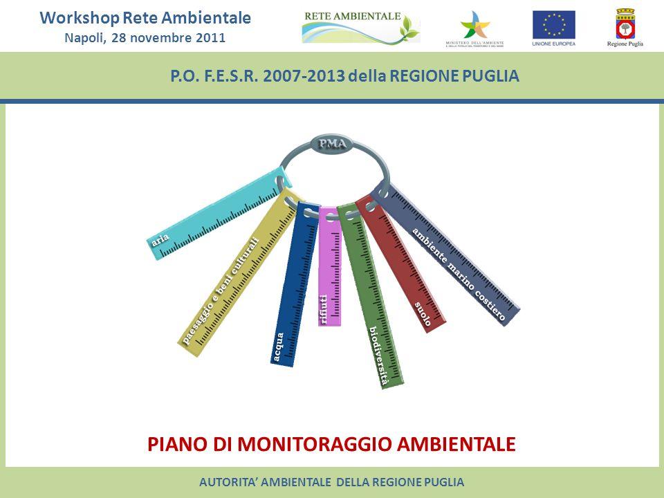 Workshop Rete Ambientale Napoli, 28 novembre 2011 P.O. F.E.S.R. 2007-2013 della REGIONE PUGLIA PIANO DI MONITORAGGIO AMBIENTALE AUTORITA AMBIENTALE DE