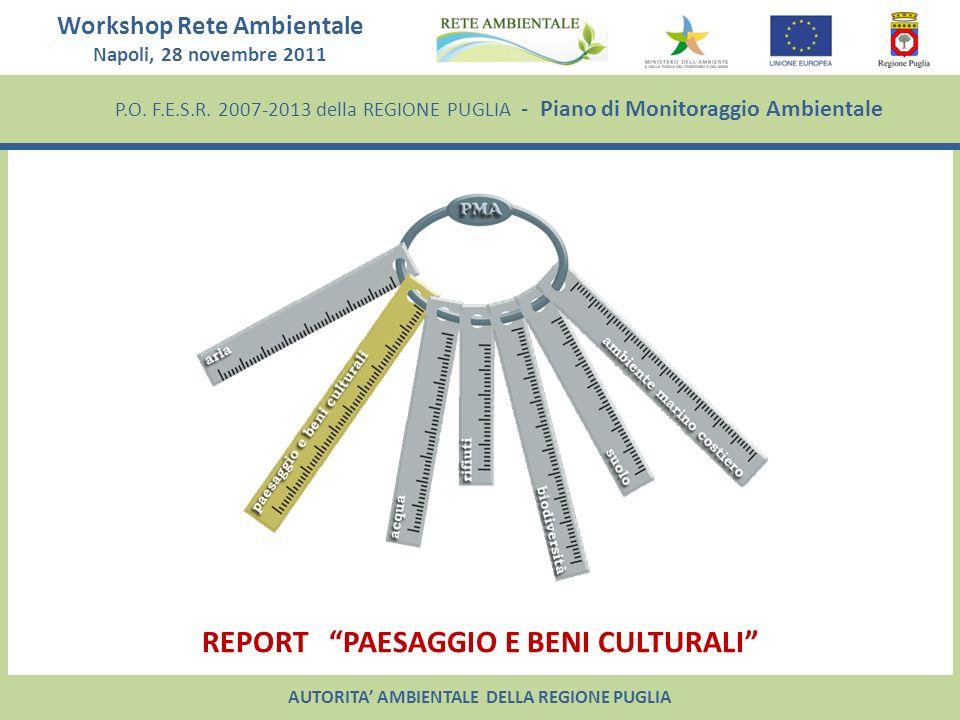 P.O. F.E.S.R. 2007-2013 della REGIONE PUGLIA - Piano di Monitoraggio Ambientale Workshop Rete Ambientale Napoli, 28 novembre 2011 REPORT PAESAGGIO E B