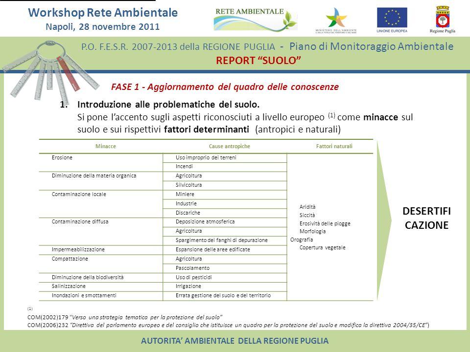 P.O. F.E.S.R. 2007-2013 della REGIONE PUGLIA - Piano di Monitoraggio Ambientale REPORT SUOLO Workshop Rete Ambientale Napoli, 28 novembre 2011 AUTORIT