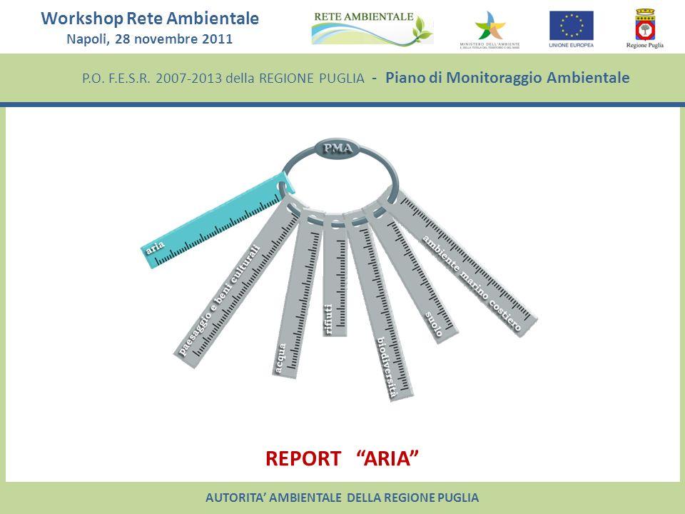 Workshop Rete Ambientale Napoli, 28 novembre 2011 P.O. F.E.S.R. 2007-2013 della REGIONE PUGLIA - Piano di Monitoraggio Ambientale REPORT ARIA AUTORITA