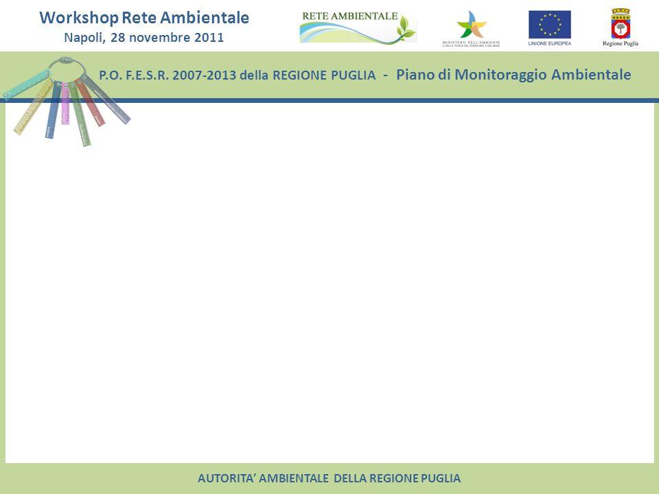 P.O. F.E.S.R. 2007-2013 della REGIONE PUGLIA - Piano di Monitoraggio Ambientale Workshop Rete Ambientale Napoli, 28 novembre 2011 AUTORITA AMBIENTALE