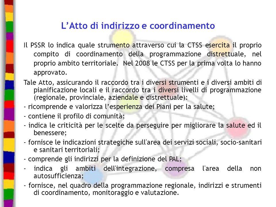 LAtto di indirizzo e coordinamento Il PSSR lo indica quale strumento attraverso cui la CTSS esercita il proprio compito di coordinamento della program