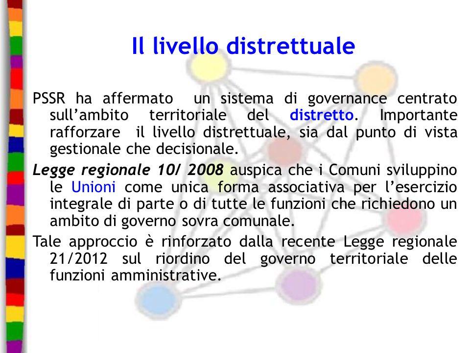 Il livello distrettuale PSSR ha affermato un sistema di governance centrato sullambito territoriale del distretto. Importante rafforzare il livello di