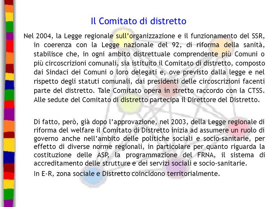 Il Comitato di distretto Nel 2004, la Legge regionale sullorganizzazione e il funzionamento del SSR, in coerenza con la Legge nazionale del 92, di rif