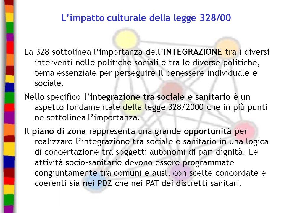 Limpatto culturale della legge 328/00 La 328 sottolinea limportanza dellINTEGRAZIONE tra i diversi interventi nelle politiche sociali e tra le diverse