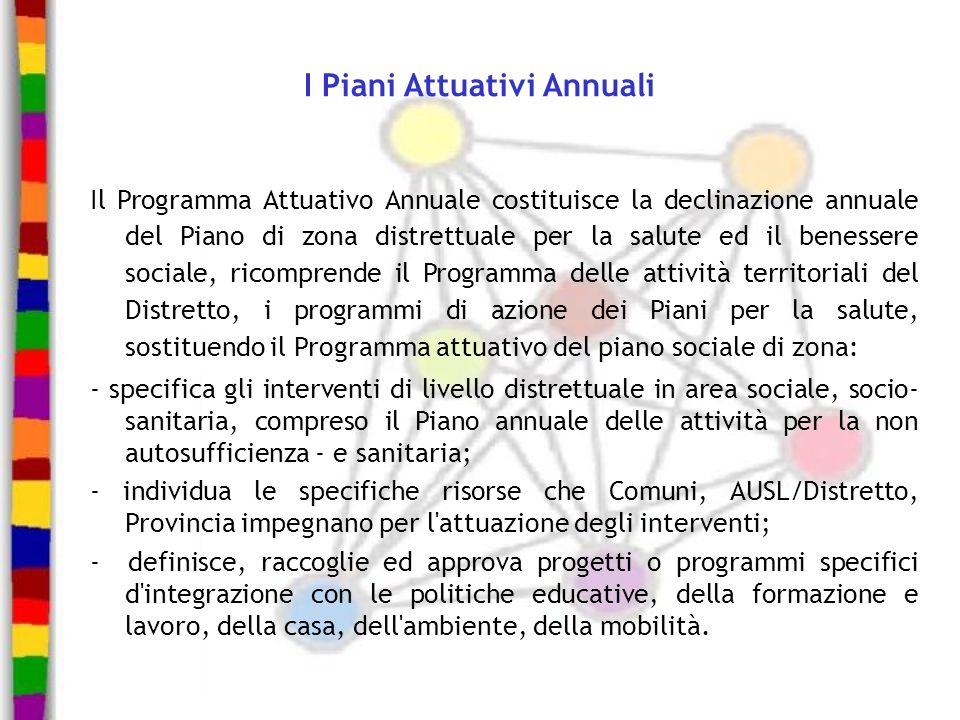 I Piani Attuativi Annuali Il Programma Attuativo Annuale costituisce la declinazione annuale del Piano di zona distrettuale per la salute ed il beness