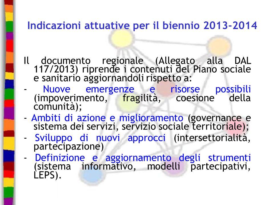 Indicazioni attuative per il biennio 2013-2014 Il documento regionale (Allegato alla DAL 117/2013) riprende i contenuti del Piano sociale e sanitario