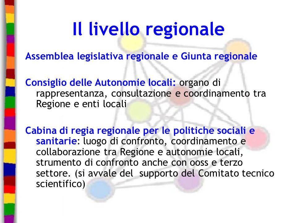 Il livello regionale Assemblea legislativa regionale e Giunta regionale Consiglio delle Autonomie locali: organo di rappresentanza, consultazione e co