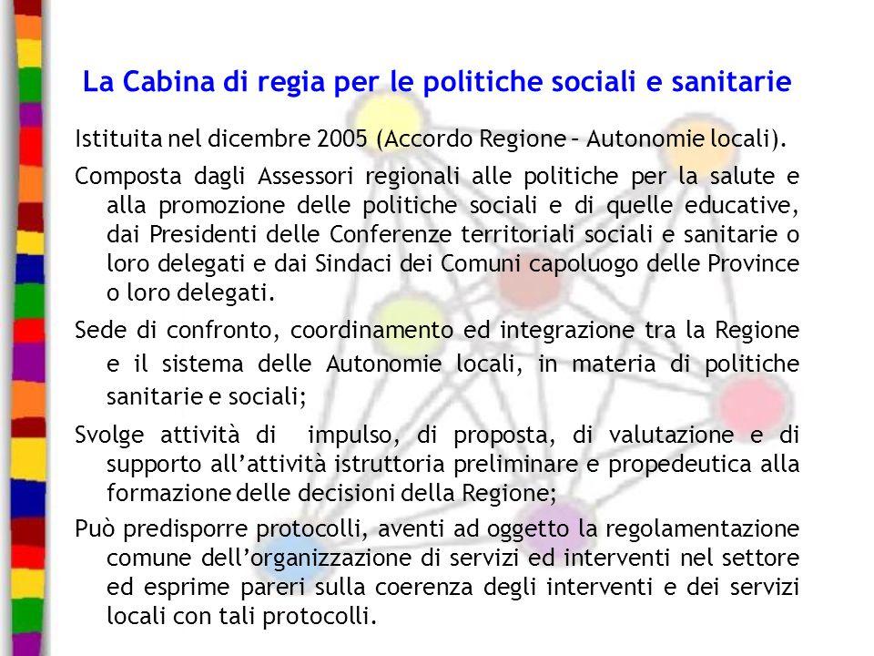 La Cabina di regia per le politiche sociali e sanitarie Istituita nel dicembre 2005 (Accordo Regione – Autonomie locali). Composta dagli Assessori reg