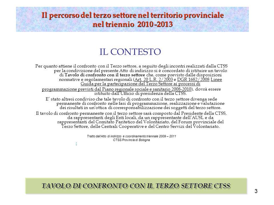 4 Il percorso del terzo settore nel territorio provinciale nel triennio 2010 -2013 Il PERCORSO TAVOLO DI CONFRONTO CON IL TERZO SETTORE CTSS