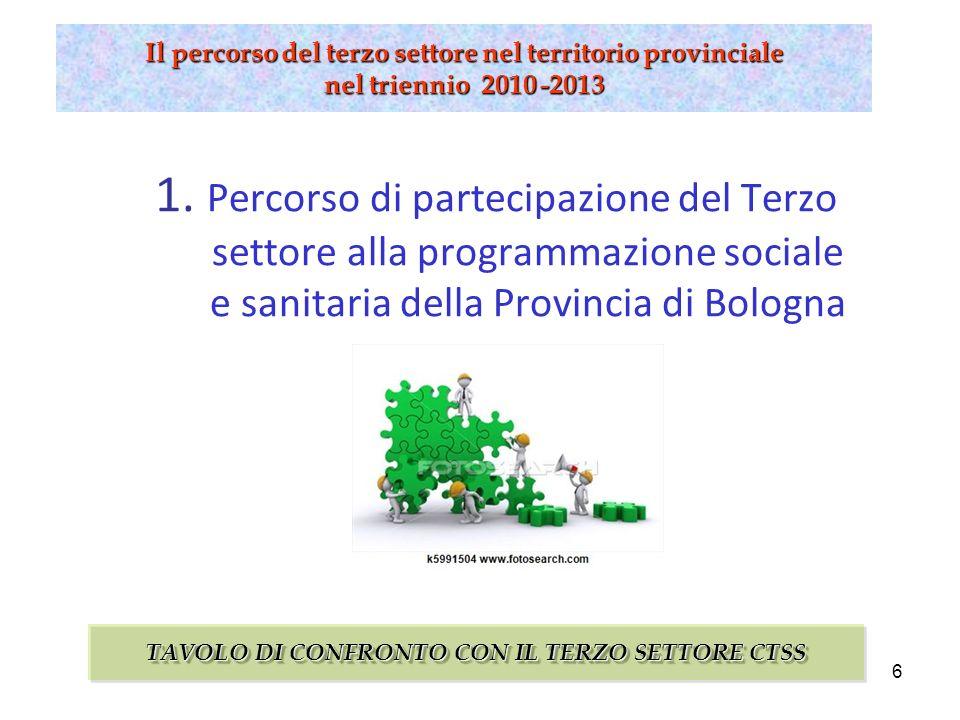 6 Il percorso del terzo settore nel territorio provinciale nel triennio 2010 -2013 1.