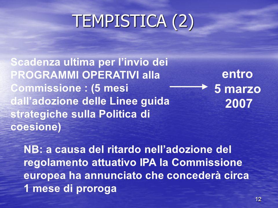 12 entro 5 marzo 2007 Scadenza ultima per linvio dei PROGRAMMI OPERATIVI alla Commissione : (5 mesi dalladozione delle Linee guida strategiche sulla P