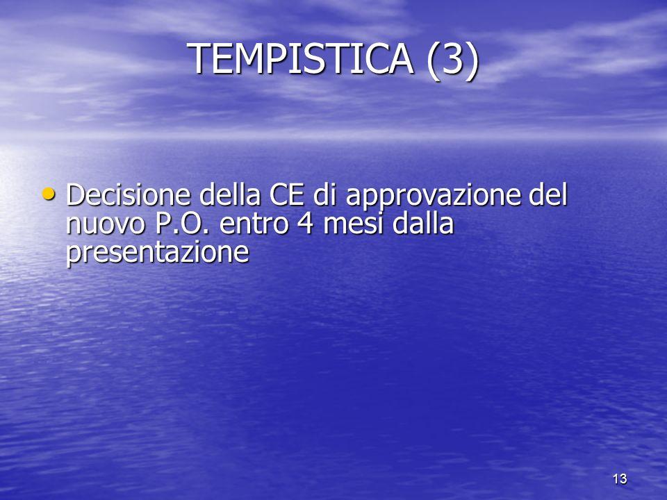 13 TEMPISTICA (3) Decisione della CE di approvazione del nuovo P.O. entro 4 mesi dalla presentazione Decisione della CE di approvazione del nuovo P.O.
