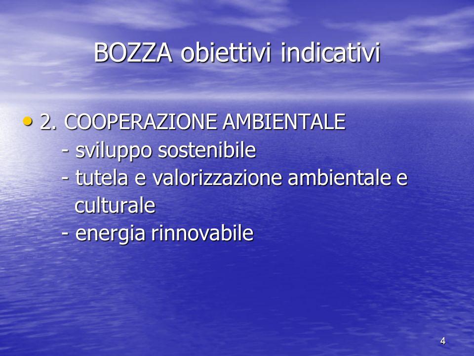 4 BOZZA obiettivi indicativi 2. COOPERAZIONE AMBIENTALE 2. COOPERAZIONE AMBIENTALE - sviluppo sostenibile - sviluppo sostenibile - tutela e valorizzaz