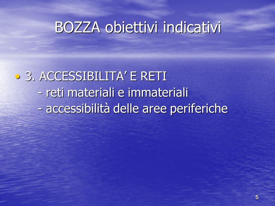 5 BOZZA obiettivi indicativi 3. ACCESSIBILITA E RETI3. ACCESSIBILITA E RETI - reti materiali e immateriali - reti materiali e immateriali - accessibil