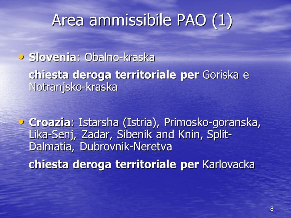 8 Area ammissibile PAO (1) Slovenia: Obalno-kraska Slovenia: Obalno-kraska chiesta deroga territoriale per Goriska e Notranjsko-kraska chiesta deroga territoriale per Goriska e Notranjsko-kraska Croazia: Istarsha (Istria), Primosko-goranska, Lika-Senj, Zadar, Sibenik and Knin, Split- Dalmatia, Dubrovnik-Neretva Croazia: Istarsha (Istria), Primosko-goranska, Lika-Senj, Zadar, Sibenik and Knin, Split- Dalmatia, Dubrovnik-Neretva chiesta deroga territoriale per Karlovacka chiesta deroga territoriale per Karlovacka