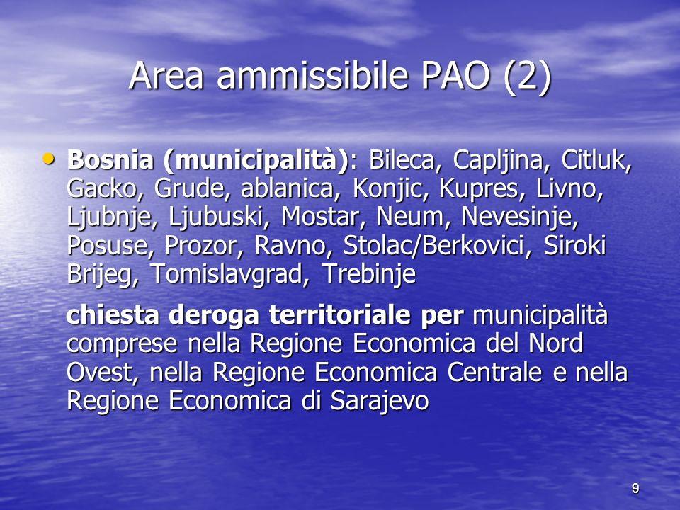 9 Area ammissibile PAO (2) Bosnia (municipalità): Bileca, Capljina, Citluk, Gacko, Grude, ablanica, Konjic, Kupres, Livno, Ljubnje, Ljubuski, Mostar,