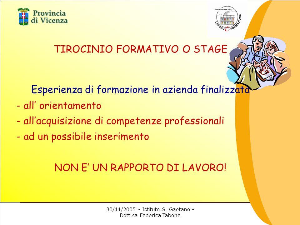 30/11/2005 - Istituto S. Gaetano - Dott.sa Federica Tabone TIROCINIO FORMATIVO O STAGE Esperienza di formazione in azienda finalizzata - all orientame