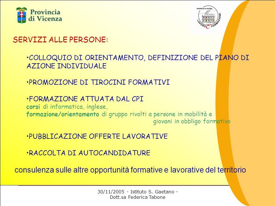 30/11/2005 - Istituto S. Gaetano - Dott.sa Federica Tabone SERVIZI ALLE PERSONE: COLLOQUIO DI ORIENTAMENTO, DEFINIZIONE DEL PIANO DI AZIONE INDIVIDUAL