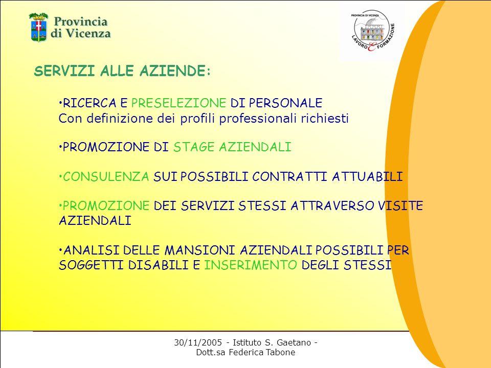 30/11/2005 - Istituto S. Gaetano - Dott.sa Federica Tabone SERVIZI ALLE AZIENDE: RICERCA E PRESELEZIONE DI PERSONALE Con definizione dei profili profe