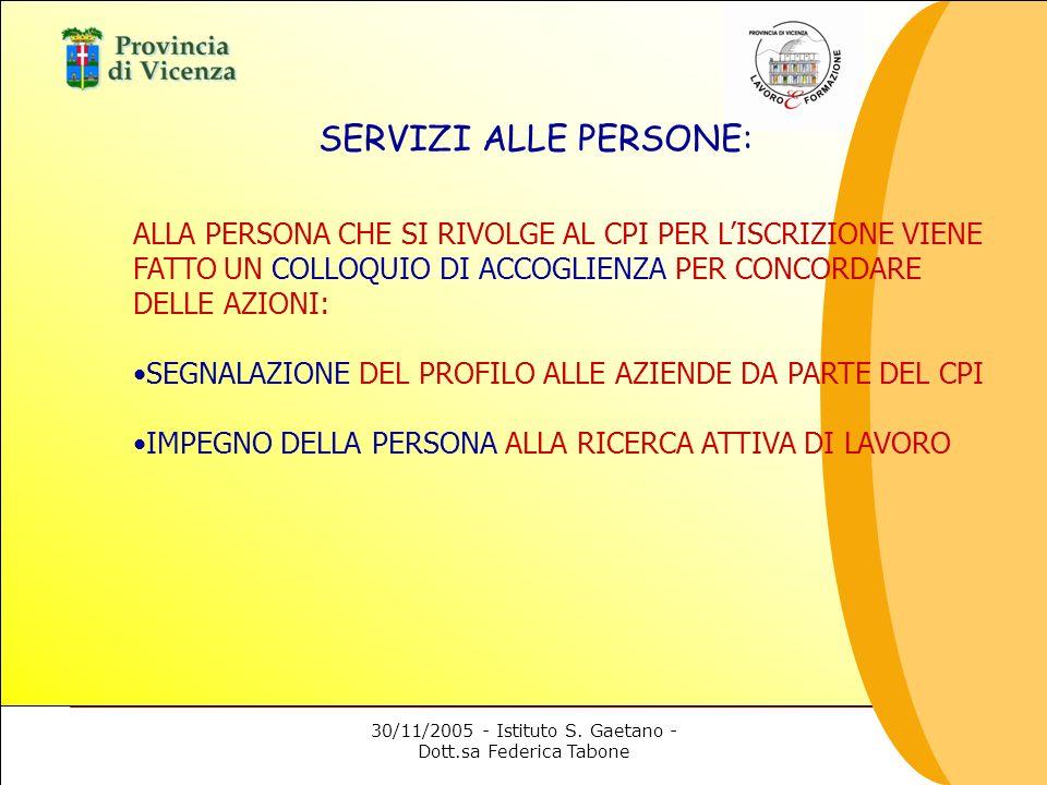 30/11/2005 - Istituto S. Gaetano - Dott.sa Federica Tabone SERVIZI ALLE PERSONE: ALLA PERSONA CHE SI RIVOLGE AL CPI PER LISCRIZIONE VIENE FATTO UN COL