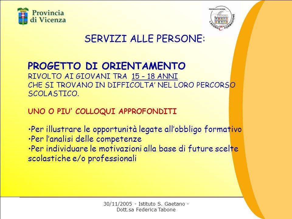 30/11/2005 - Istituto S. Gaetano - Dott.sa Federica Tabone SERVIZI ALLE PERSONE: PROGETTO DI ORIENTAMENTO RIVOLTO AI GIOVANI TRA 15 – 18 ANNI CHE SI T