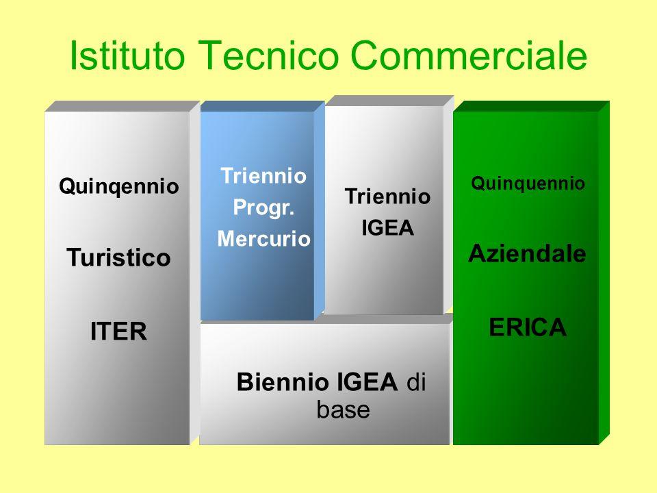 Istituto Tecnico Commerciale Biennio IGEA di base Triennio IGEA Triennio Progr. Mercurio Quinqennio Turistico ITER Quinquennio Aziendale ERICA