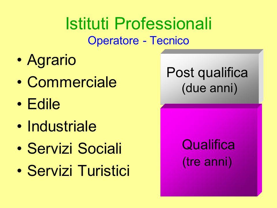 Istituti Professionali Operatore - Tecnico Agrario Commerciale Edile Industriale Servizi Sociali Servizi Turistici Post qualifica (due anni) Qualifica