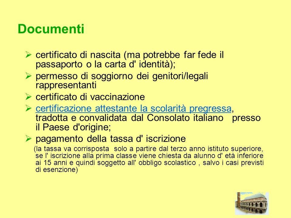 Documenti certificato di nascita (ma potrebbe far fede il passaporto o la carta d' identità); permesso di soggiorno dei genitori/legali rappresentanti