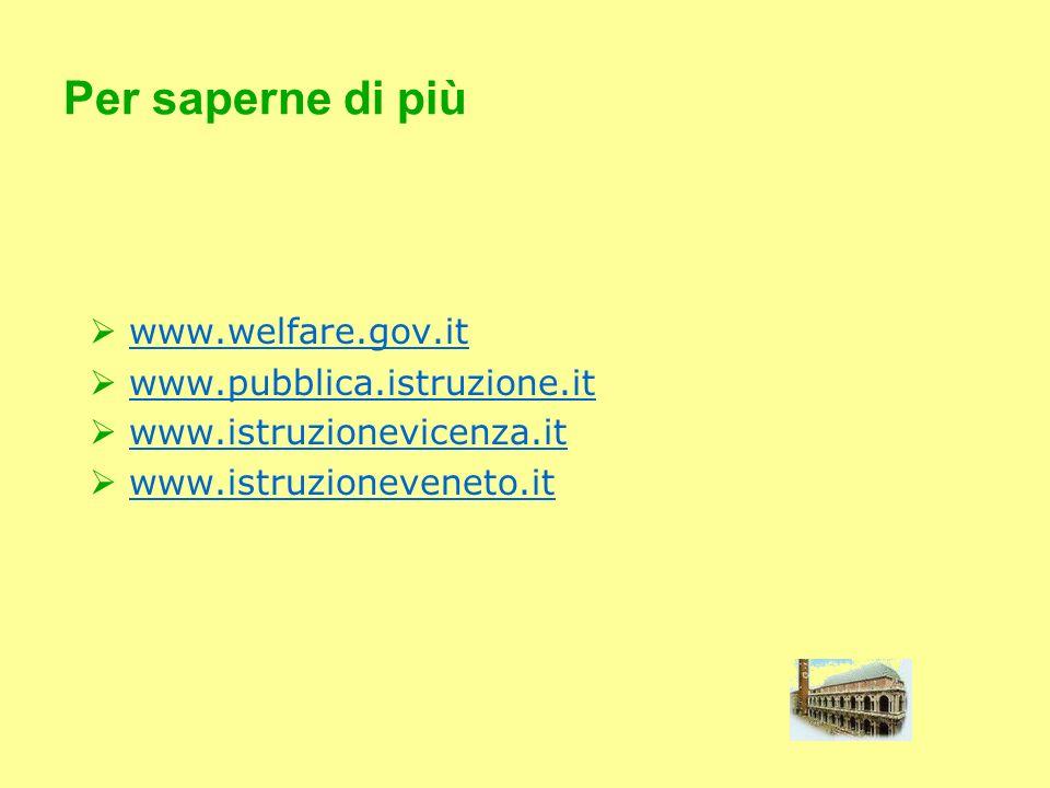 Per saperne di più www.welfare.gov.it www.pubblica.istruzione.it www.istruzionevicenza.it www.istruzioneveneto.it
