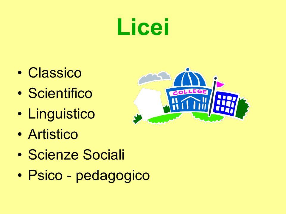 Licei Classico Scientifico Linguistico Artistico Scienze Sociali Psico - pedagogico