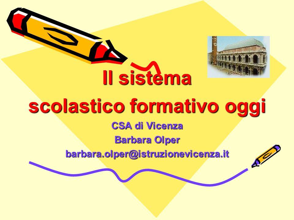 Il sistema scolastico formativo oggi CSA di Vicenza Barbara Olper barbara.olper@istruzionevicenza.it